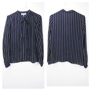WAYF blue split neck long sleeve blouse